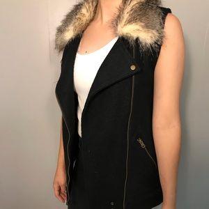 Thread & Supply Fur Collar Knitted Aztec Vest